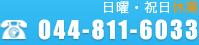 日曜・祝日休業 TEL:044-811-60333